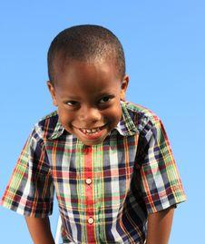 Free Boy On Blue Background Stock Image - 5489291