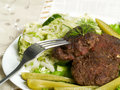 Free Cutlets With Salad Royalty Free Stock Image - 5491246