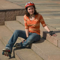 Free Smiling Rollerskating Girl Stock Photography - 5492562