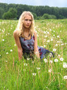Free Girl Sitting In Dandelion Stock Photography - 5494862