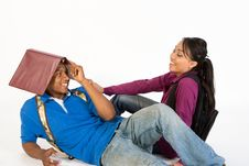 Free Attractive Teen Couple Flirting Stock Photography - 5490222