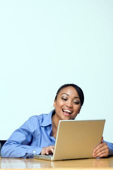 Free Laughing Student With Laptop. - Vertical Stock Image - 5490261
