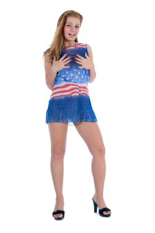 Free Girl In  Dress From The American Flag Stock Photo - 5491700