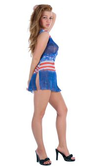 Free Girl In  Dress From The American Flag Stock Photos - 5491703