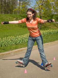 Rollerskating Girl Royalty Free Stock Photography