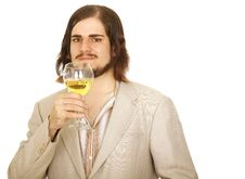 Free Handsome Young Man Holding Wine Stock Images - 5492274