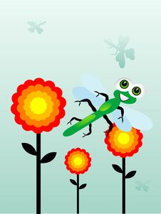 Free Dragonfly Near Flowers Stock Photos - 5492813