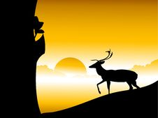 Free Reindeer And Tree Royalty Free Stock Photography - 5492887