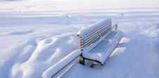 Outdoor Snow Covered Bench Royalty Free Stock Photo