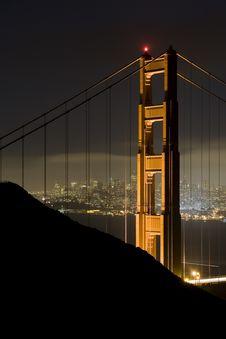 Free Golden Gate Bridge At Night Royalty Free Stock Photos - 5493628