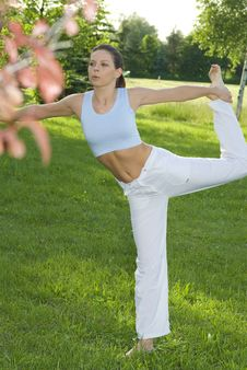 Free Sporty Girl Exercising On Meadow Against The Sky Royalty Free Stock Photography - 5495327