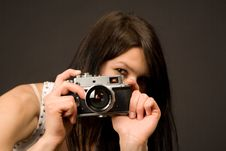 Free Playful Girl Photographer, Focus On Camera Royalty Free Stock Images - 5496069