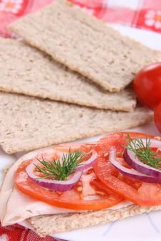 Crispy Bread With Ham And Vegetables Royalty Free Stock Photo