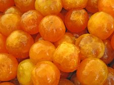 Free Closeup Of Candied Apricots In A Tray Stock Images - 5496524