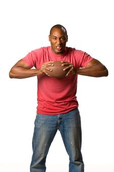 Free Black Man Holding Football Royalty Free Stock Photos - 5497018