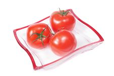 Free Tomatoes On A Glass Plate. Royalty Free Stock Photography - 5497097