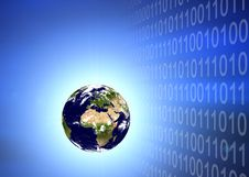 Free Earth Planet In Binary Code Stock Images - 5497294