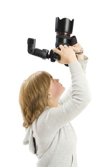 The Young Beautiful Girl With The Camera Royalty Free Stock Photo