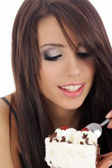Free Young Woman Eating The Cake. Stock Photos - 5498563