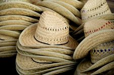 Stacked Straw Cowboy Hats Royalty Free Stock Images