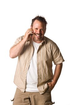 Free Man On Cell Phone Stock Photography - 5498692