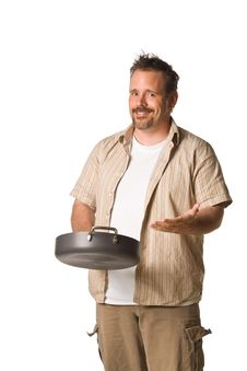 Free Man Holding Frying Pan Royalty Free Stock Photo - 5498875
