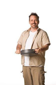 Free Man Holding Frying Pan Royalty Free Stock Images - 5498889
