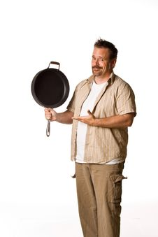 Free Man Holding Frying Pan Royalty Free Stock Photo - 5498915