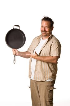 Free Man Holding Frying Pan Stock Image - 5498931