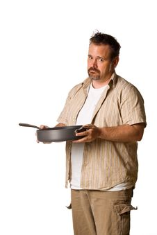 Free Man Holding Frying Pan With Sad Look Royalty Free Stock Image - 5498976