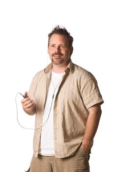 Man Listening To Music With Expression Stock Photography