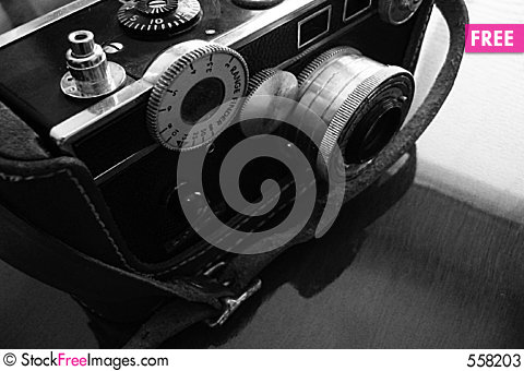 Vintage camera, black and white Stock Photo