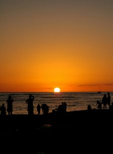 Free Sunset In Waikiki Royalty Free Stock Photography - 550557