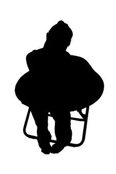 Silhouette With Clipping Path Of Woman In Chair Royalty Free Stock Images