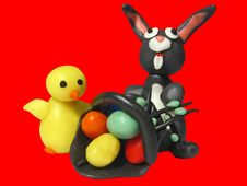 Free Easter Bunny Chicken And Eggs 2 Stock Image - 552361