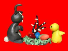 Free Easter Bunny Chicken And Eggs 3 Stock Photos - 552363