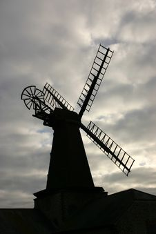 Free Windmill Silhouette Royalty Free Stock Image - 556956