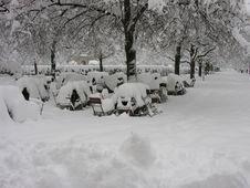 Free Beergarden In Winter Stock Image - 557401