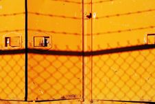 Free Yellow Doors, Barbed Wire Silhouette Royalty Free Stock Photography - 558207