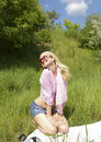 Free Beautiful Girl On The Grass Royalty Free Stock Image - 5507786