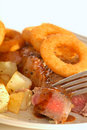 Free New York Cut Strip Steak With Onion Rings Royalty Free Stock Photo - 5508925