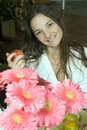 Free Woman With Flowers And Apple - Vertical Stock Photos - 5509833