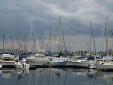 Free Boat Yard On Stormy Day Royalty Free Stock Photography - 5500117