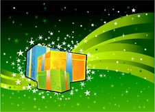 Free Gift Box In CHristmas Background Royalty Free Stock Photos - 5500808