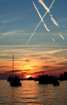 Sunset From The Adriatic Sea Royalty Free Stock Images