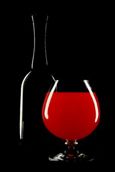 Free Bottle Of Wine And Wineglass Stock Photo - 5501170