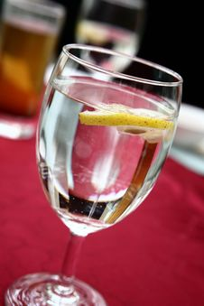 Lemon In In Soda Water Stock Photography