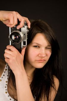 Attractive Girl With Retro Camera Stock Images