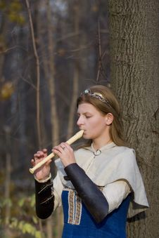 Free Lady With  Flute Stock Photo - 5504710