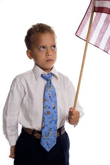 Free Young Boy Dressed As Businessman With Us Flag Royalty Free Stock Photos - 5505488
